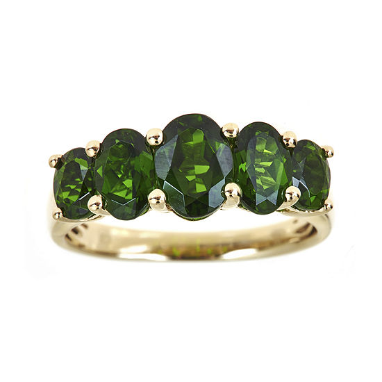 LIMITED QUANTITIES  Genuine Chrome Diopside 5-Stone Yellow Gold Ring