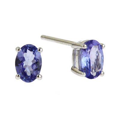 LIMITED QUANTITIES  14K White Gold Genuine 5.5 x 7.5mm Tanzanite Stud Earrings