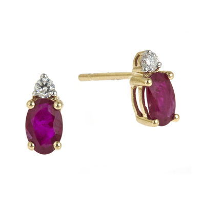 LIMITED QUANTITIES  Lead Glass-Filled Ruby and Diamond-Accent Stud Earrings