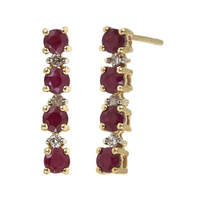 LIMITED QUANTITIES  Lead Glass-Filled Ruby and 1/10 CT. T.W. Diamond Linear Earrings