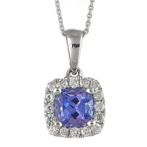 LIMITED QUANTITIES  Genuine Tanzanite and 1/5 CT. T.W. Diamond Framed Pendant Necklace