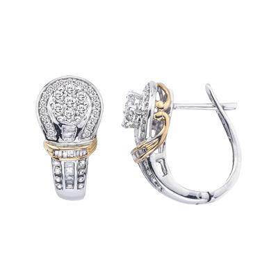 1/2 CT. T.W. Diamond 10K Two-Tone Gold Earrings