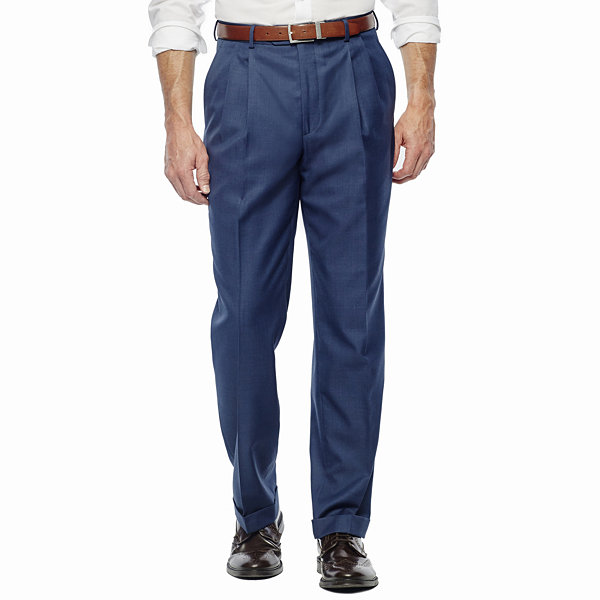 Stafford® Travel Medium Blue Pleated Suit Pants - Classic Fit