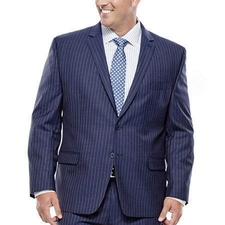 Collection by Michael Strahan Striped Navy Suit Jacket - Big & Tall, 56 Big Long, Blue