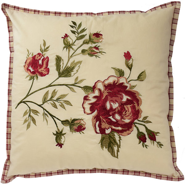 "Waverly® Norfolk 20"" Embroidered Floral Square Decorative Pillow"