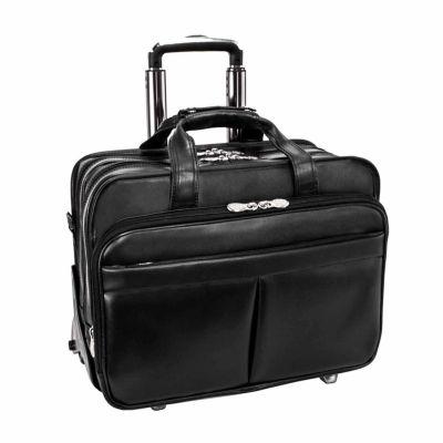 "McKleinUSA Roosevelt 17"" Leather Detachable -Wheeled Laptop Briefcase w/ Removable Sleeve"