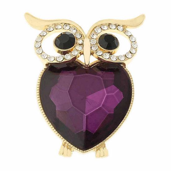 Monet Crystal Owl Pin