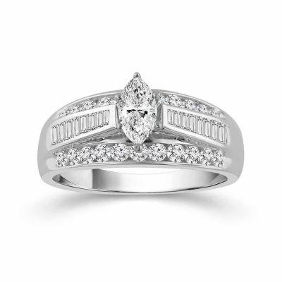 Womens 1 1/2 CT. T.W. Genuine Marquise White Diamond 14K Gold Engagement Ring