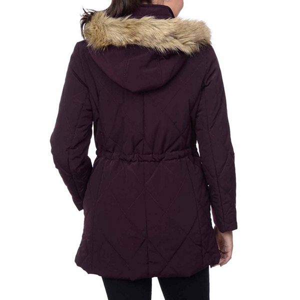 Fleet Street Quilted Faux-Silk Anorak with Faux-Fur Trim Hood
