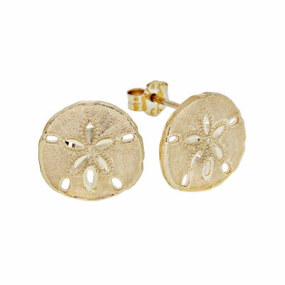 14K Gold Sand Dollar Stud Earrings