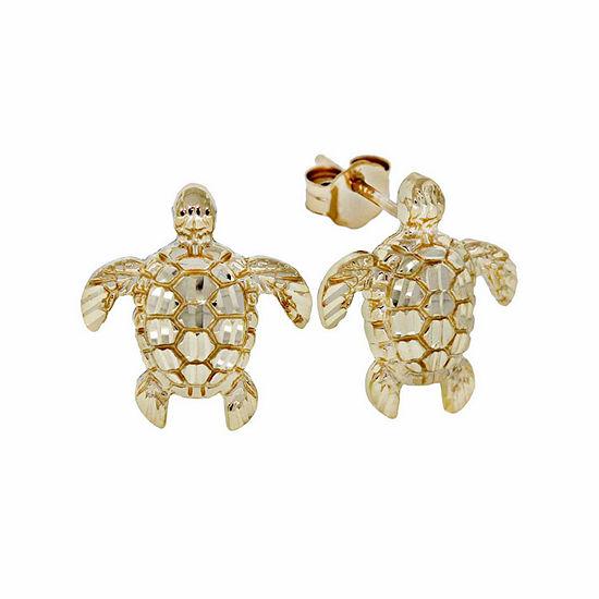 14K Gold Turtle Stud Earrings