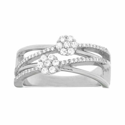 Diamond Blossom Womens 1/3 CT. T.W. Genuine White Diamond Sterling Silver Cocktail Ring