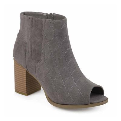Journee Collection Womens Henley Booties Block Heel Zip