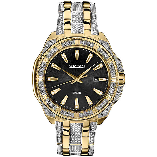 Seiko Dress Mens Crystal Accent Two Tone Stainless Steel Bracelet Watch-Sne458