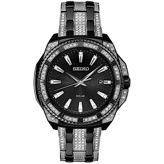 Seiko Dress Mens Crystal Accent Silver Tone Stainless Steel Bracelet Watch-Sne459