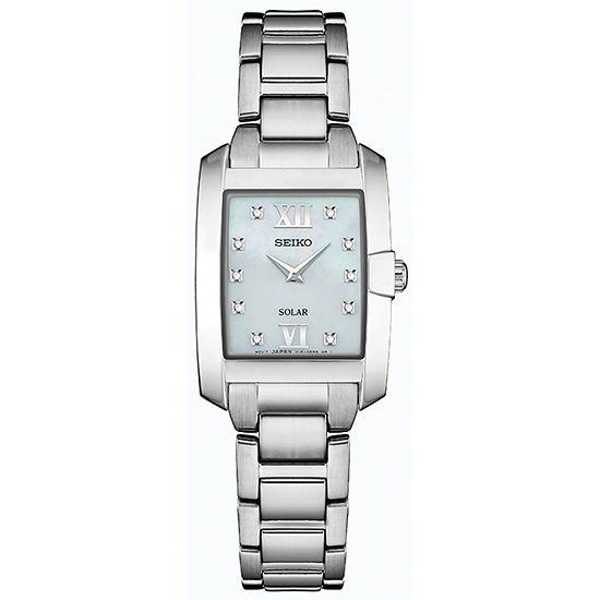 Seiko Dress Sport Womens Diamond Accent Silver Tone Stainless Steel Bracelet Watch-Sup377