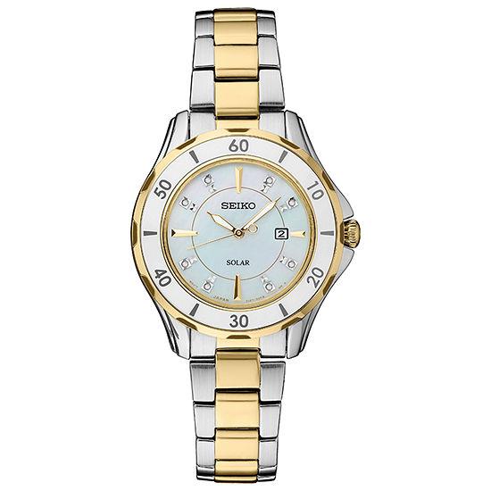 Seiko Dress Sport Womens Two Tone Bracelet Watch-Sut338