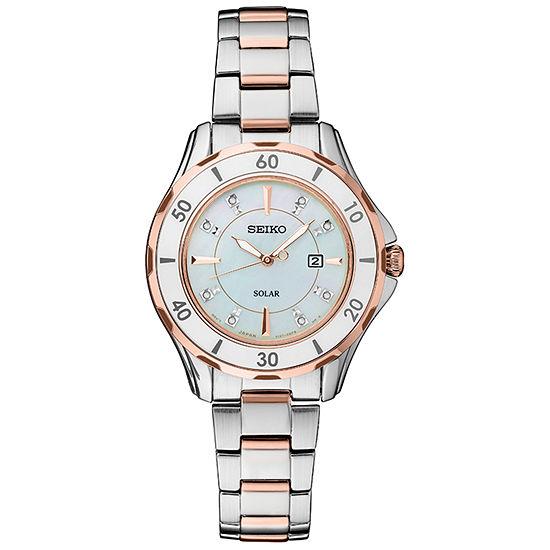 Seiko Dress Sport Womens Diamond Accent Two Tone Stainless Steel Bracelet Watch-Sut340