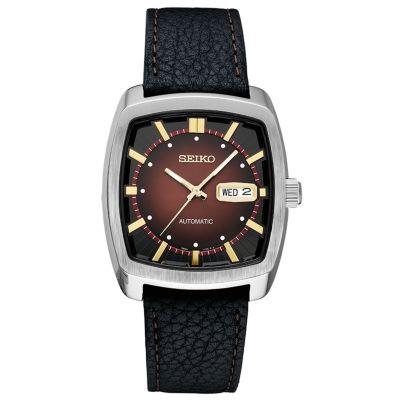 Seiko Recraft Automatic Mens Black Strap Watch-Snkp25