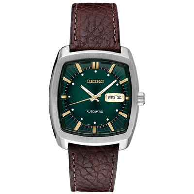 Seiko Recraft Automatic Mens Brown Strap Watch-Snkp27