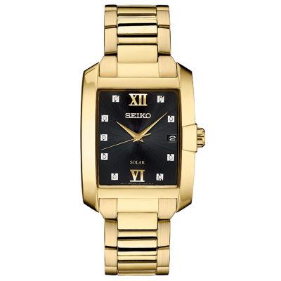Seiko Dress Sport Mens Gold Tone Bracelet Watch-Sne462