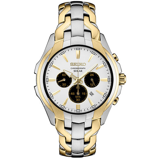 Seiko Chronograph Mens Two Tone Stainless Steel Bracelet Watch-Ssc634