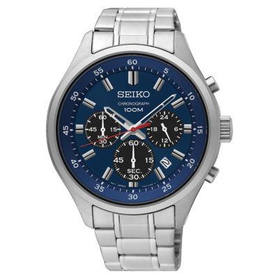 Seiko Chronograph Mens Silver Tone Bracelet Watch-Sks585