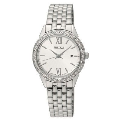Seiko Crystal Womens Silver Tone Bracelet Watch-Sur695