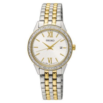 Seiko Crystal Womens Two Tone Bracelet Watch-Sur686