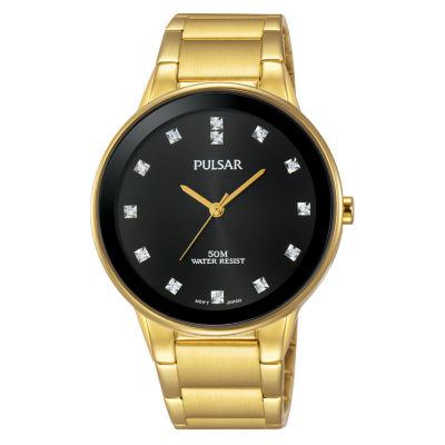 Pulsar Dress Mens Gold Tone Bracelet Watch-Pg2052