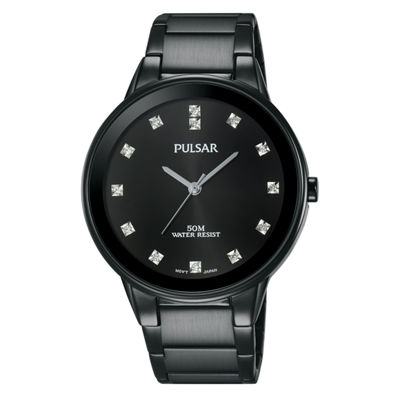 Pulsar Dress Mens Black Bracelet Watch-Pg2051