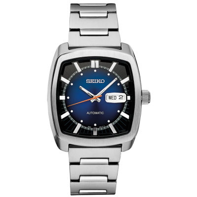 Seiko Recraft Automatic Mens Silver Tone Bracelet Watch-Snkp23