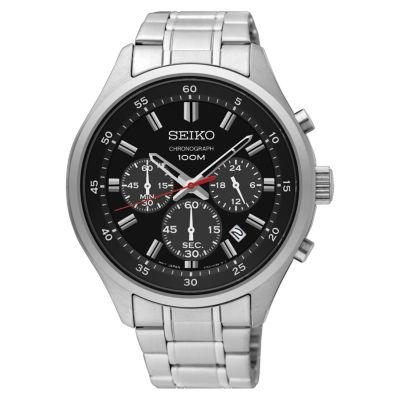 Seiko Chronograph Mens Silver Tone Bracelet Watch-Sks587
