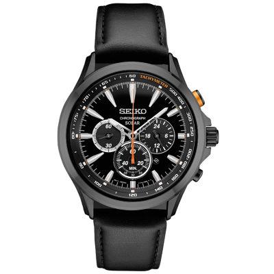 Seiko Chronograph Mens Black Strap Watch-Ssc639