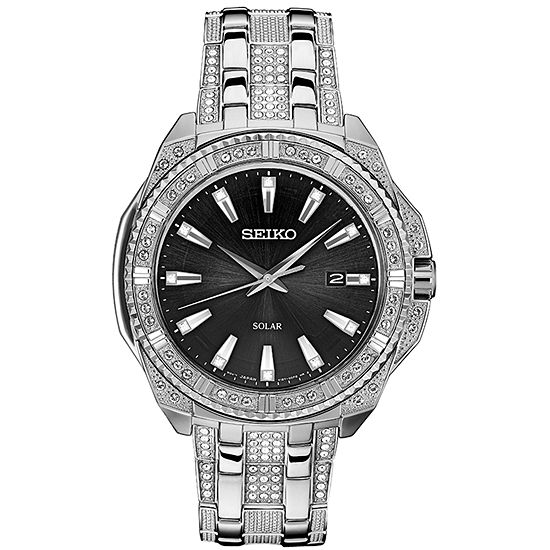 Seiko Dress Mens Crystal Accent Silver Tone Stainless Steel Bracelet Watch-Sne457