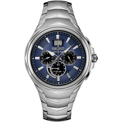Seiko Coutura Chronograph Mens Silver Tone Bracelet Watch-Ssc641