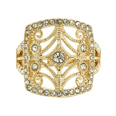 Sparkle Allure Womens Clear Gold Over Brass Cocktail Ring