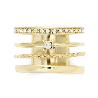 Sparkle Allure Womens 3/4 CT. T.W. Clear Gold Over Brass Cocktail Ring