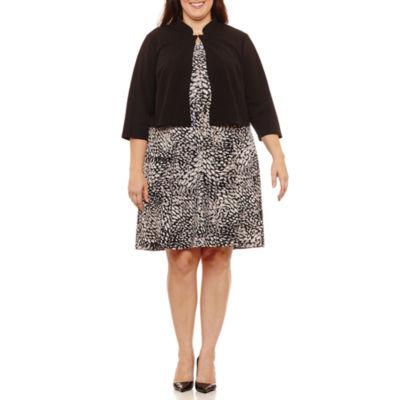 R & K Originals 3/4 Sleeve Belted Jacket Dress-Plus
