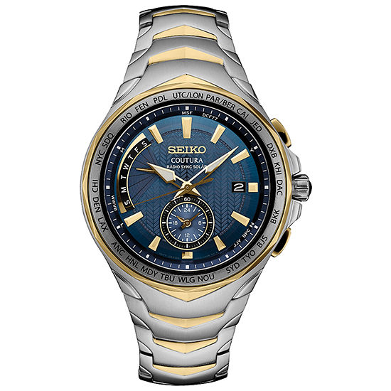 Seiko Coutura Solar Blue Dial Mens Two Tone Stainless Steel Bracelet Watch-Ssg020