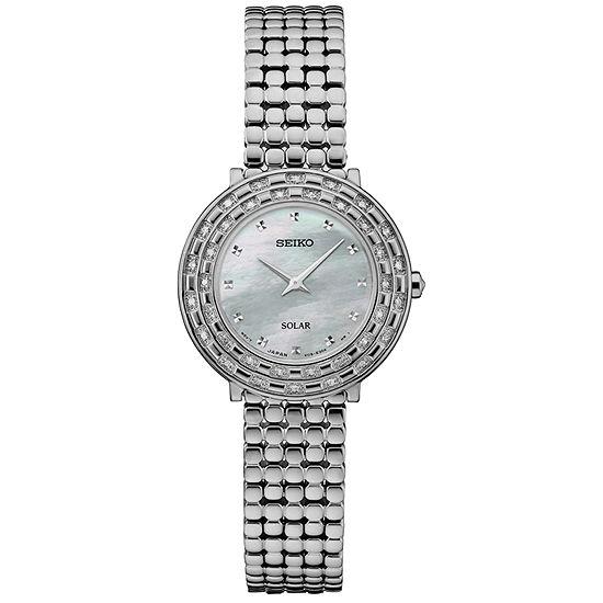 Seiko Tressia Solar Womens Diamond Accent Silver Tone Stainless Steel Bracelet Watch-Sup373