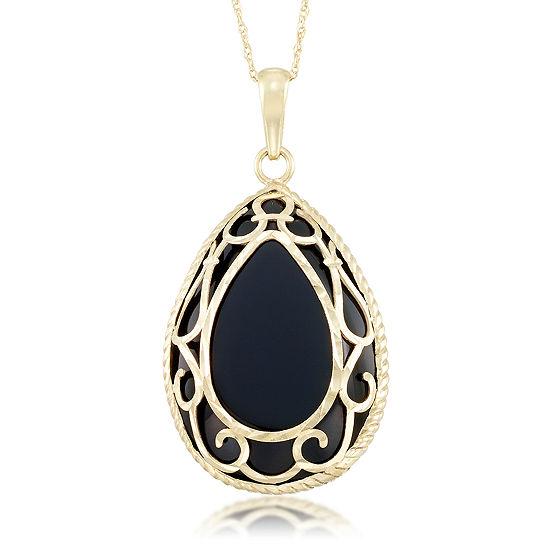Genuine Black Onyx 10K Gold Pear Pendant Necklace
