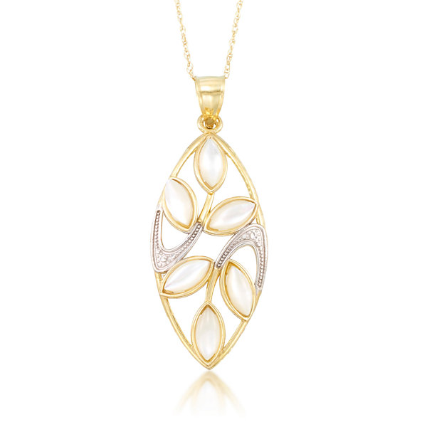 Womens White Mother Of Pearl 10K Gold Pendant Necklace