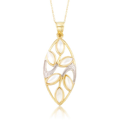 Womens Genuine White Mother Of Pearl 10K Gold Pendant Necklace