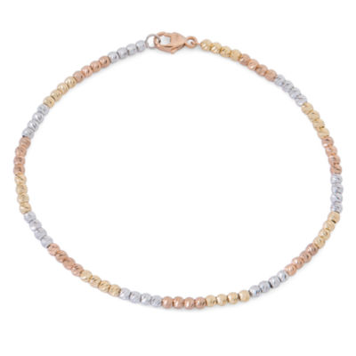 14K Tri-Color Gold Over Silver Beaded Bracelet