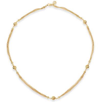 Womens 18K Gold Over Silver Beaded Necklace