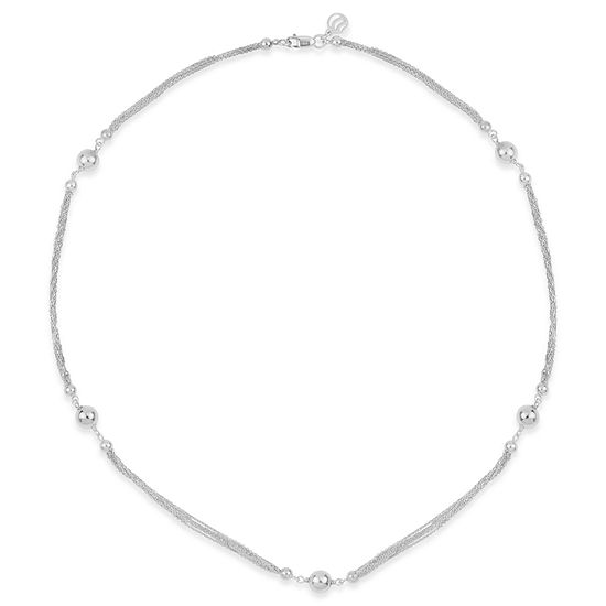 Womens Sterling Silver Beaded Necklace