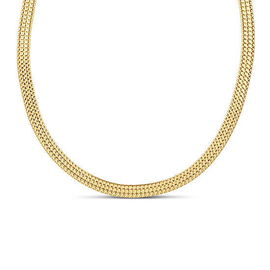 Made In Italy 18k Gold Over Silver 18 Inch Solid Herringbone Chain Necklace
