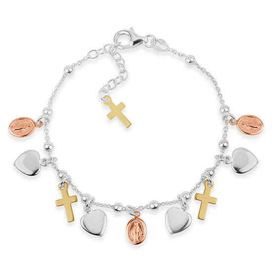 Made in Italy 18K Gold Over Silver Charm Bracelet