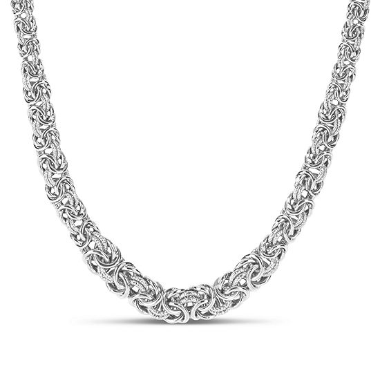 Made in Italy Sterling Silver 18 Inch Hollow Byzantine Chain Necklace
